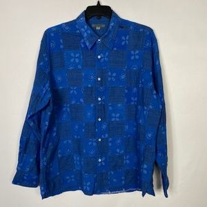 Johnston & Murphy Blue Quilted Button Down Size XL